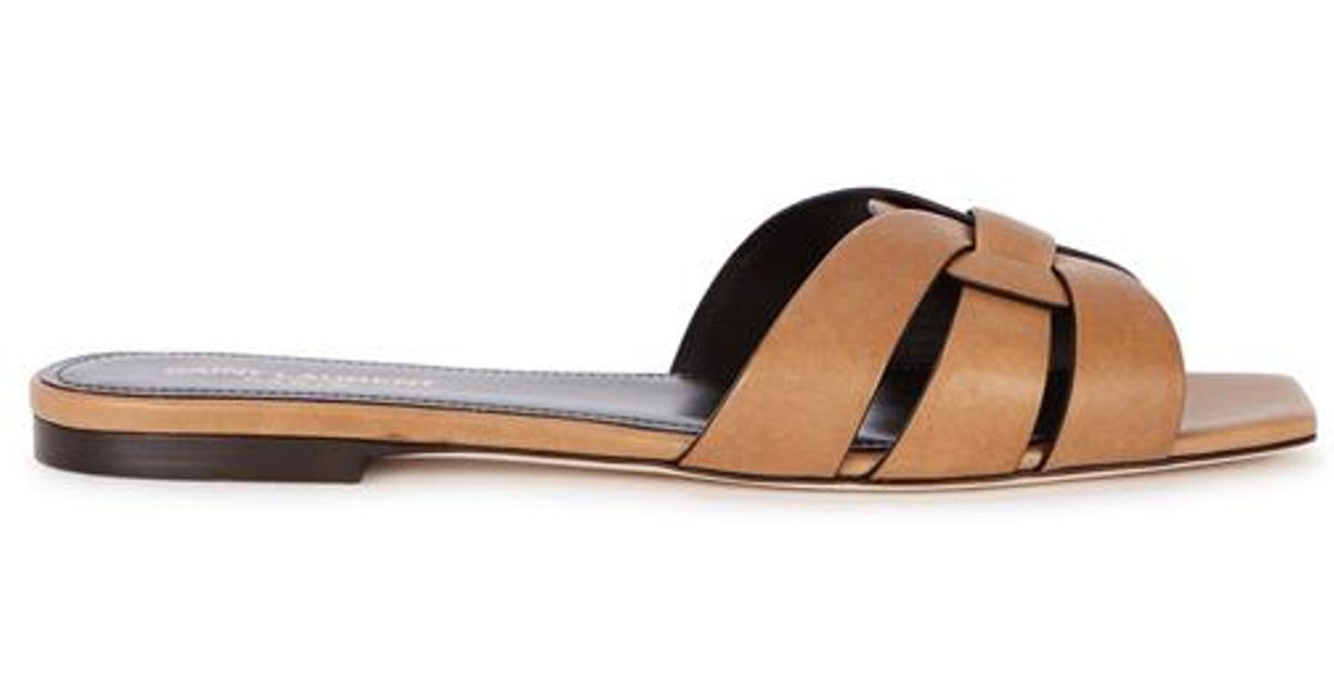 998a42710a1 Saint Laurent Tribute Brown Leather Sliders in Brown - Lyst