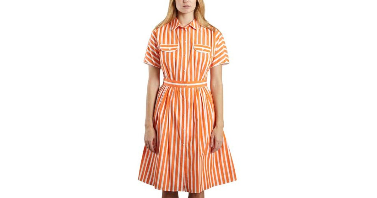 Tara Jarmon Striped Dress in Orange - Lyst e37983b94