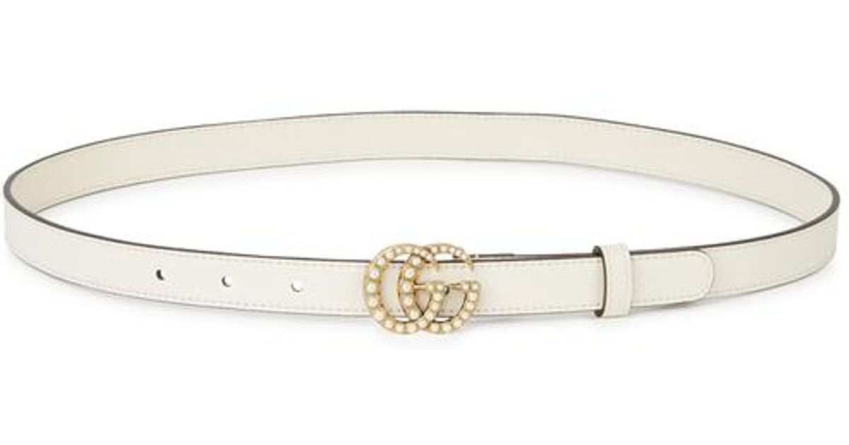 cb732a0b3 Gucci Gg Faux Pearl-embellished Leather Belt in White - Lyst