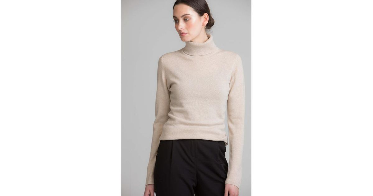32c940d01 Johnstons Natural Classic Roll Neck Womens Cashmere Jumper in Natural - Lyst