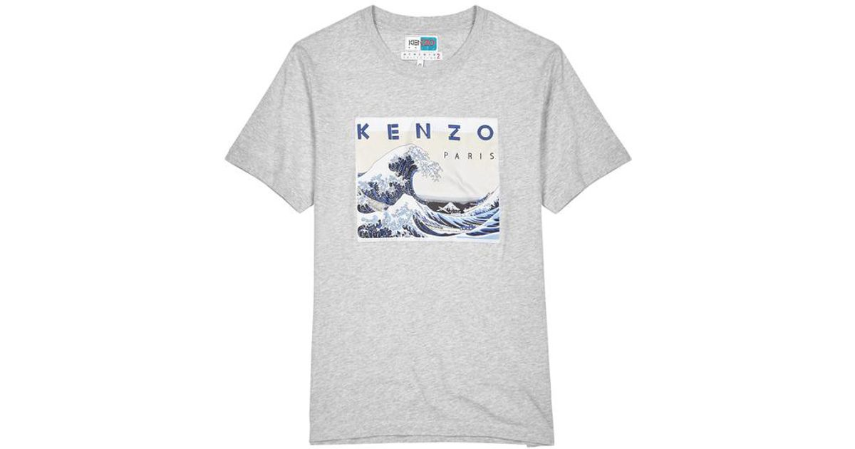 28cf7c2165e2 KENZO Kanagawa Wave Grey Cotton T-shirt in Gray for Men - Lyst