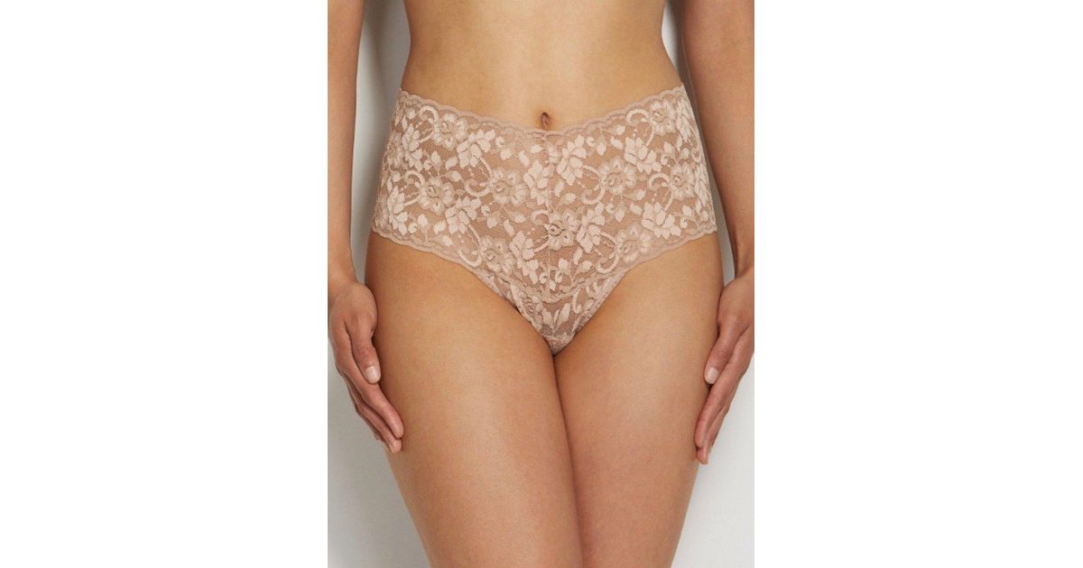 78a04a056 Lyst - HauteFlair Hanky Panky High Waisted Retro Lace Thong in Natural
