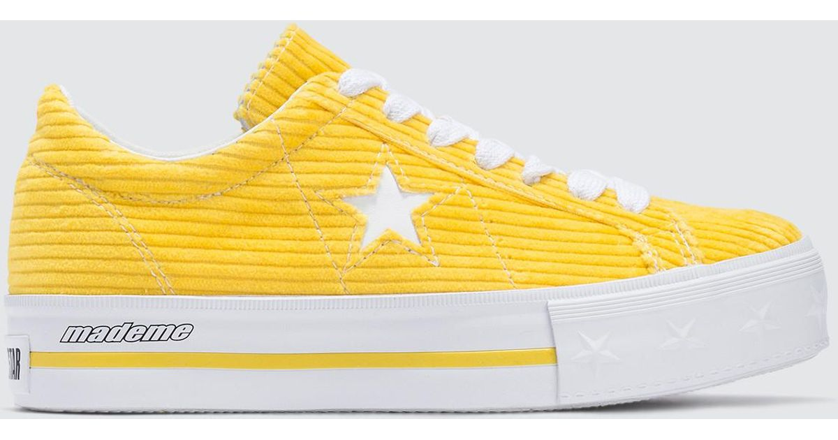 Lyst - Converse Mademe X Corduroy One Star Platform in Yellow 5a7172eef05