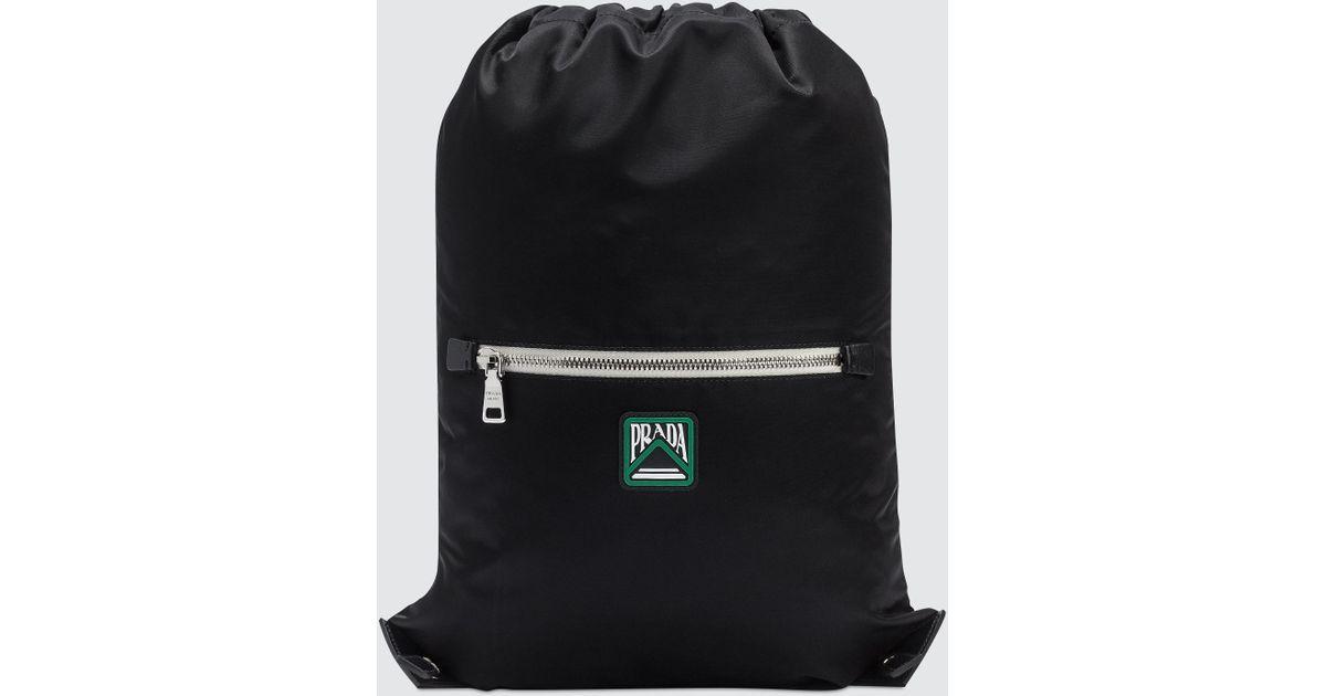 d6918335f827 Prada Nylon Logo Drawstring Backpack in Black for Men - Lyst