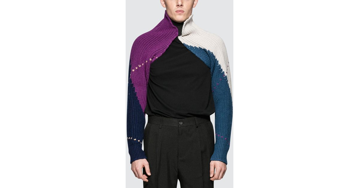 59fb0fbb34bf92 Raf Simons Knitted Sleeves With Elastic in Blue for Men - Lyst