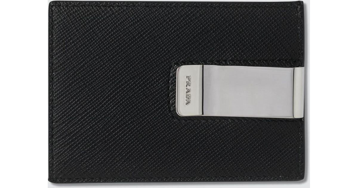 5490fc70ef1541 Prada Credit Card Holder With Money Clip in Black for Men - Lyst