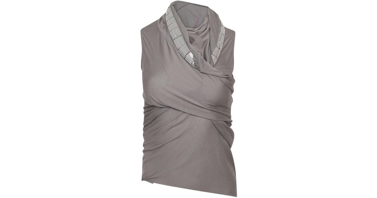 7d6f8f5ab Lyst - Rick Owens Lilies Embellished Wrap Neck Top Dust/silver in Metallic