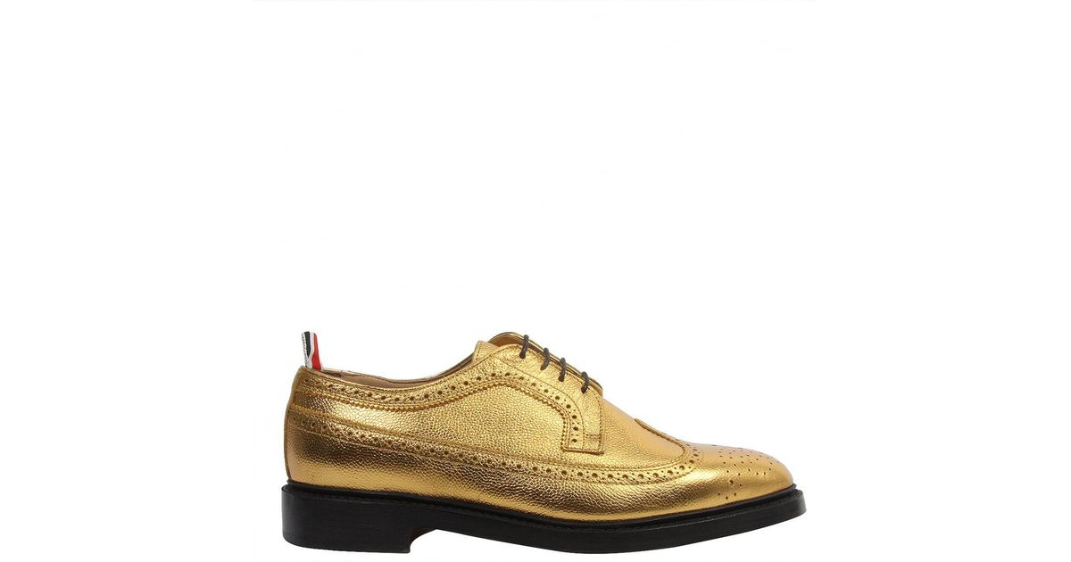 Classic Longwing Brogue With Leather Sole In Seasonal Pebble Grain - Metallic Thom Browne Free Shipping Original Choice Cheap Price 2018 For Sale Discounts uEMrl9UIaE