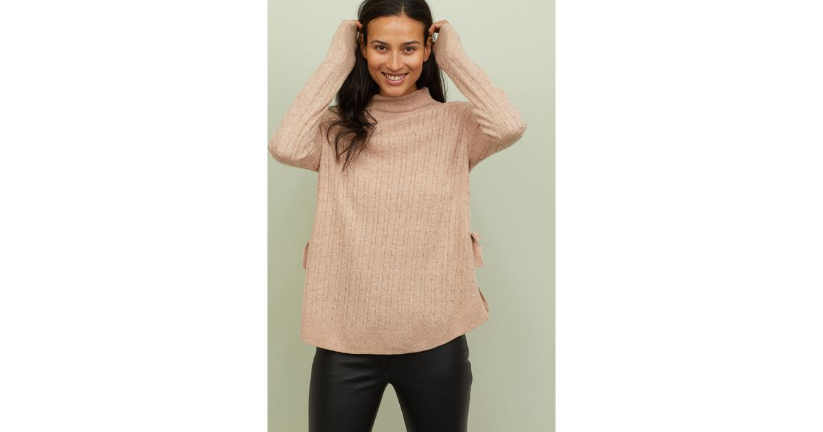 e56e73111c Lyst - H M Mama Knit Nursing Sweater in Natural