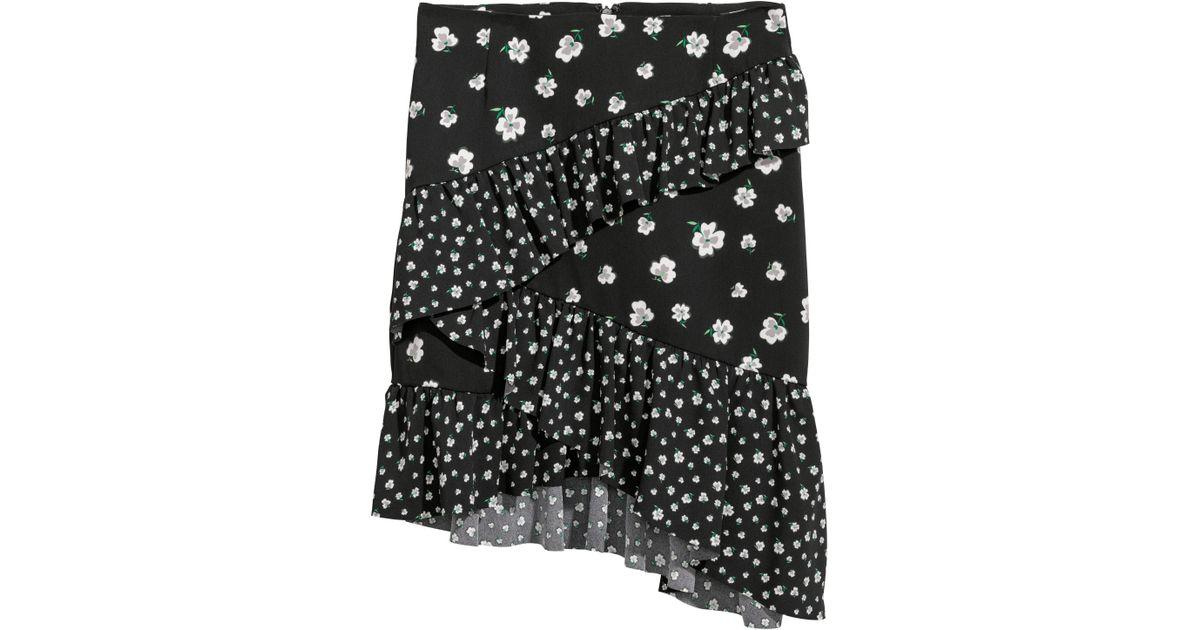 826e585d90 Lyst - H&M Short Flounced Skirt in Black
