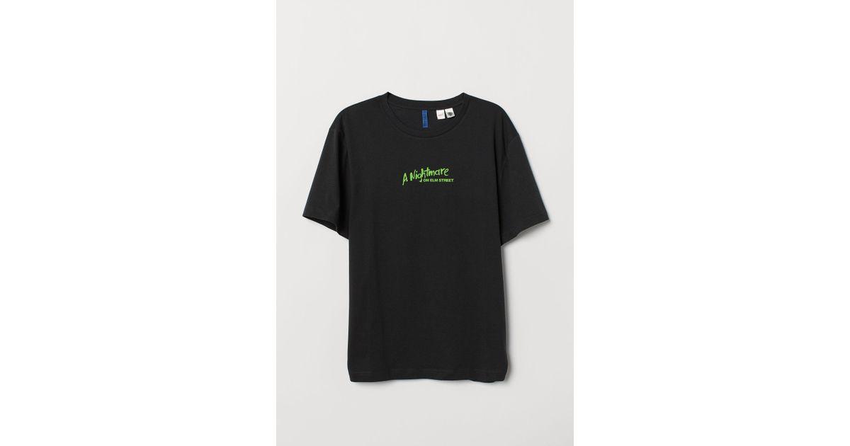 cb2af8af H&M T-shirt With A Motif in Black for Men - Lyst
