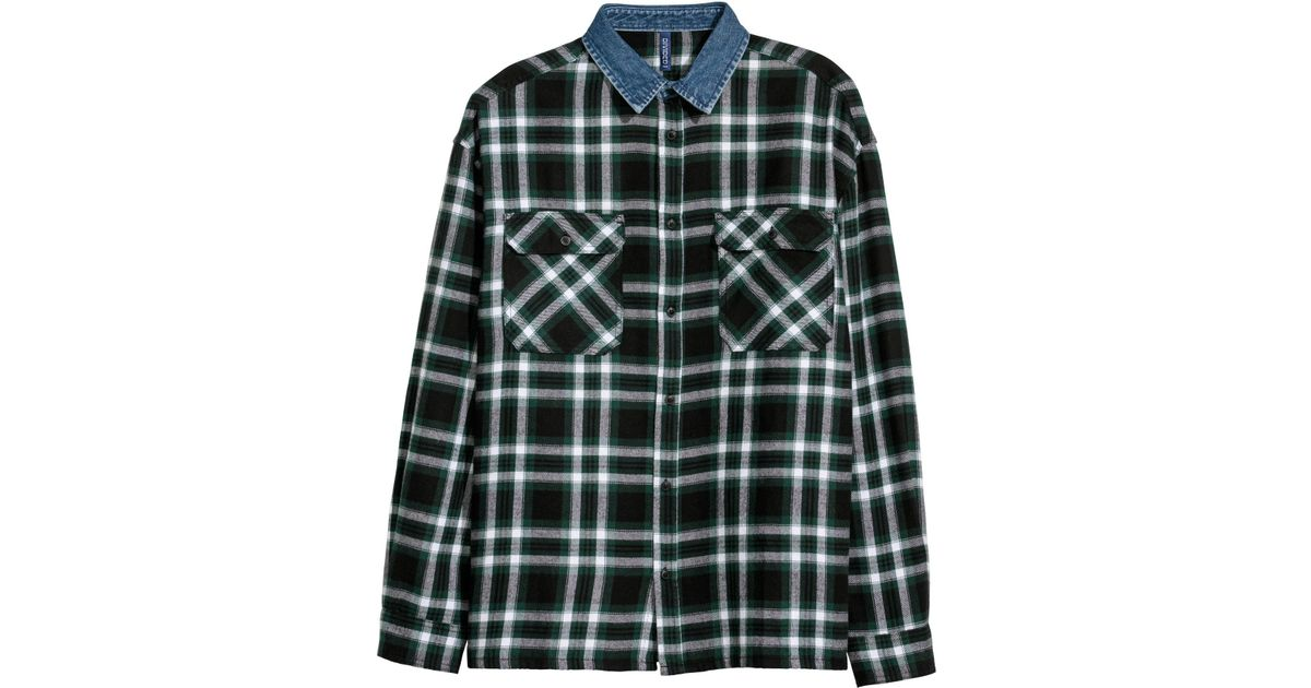 922fc35b44 H M Denim-collared Flannel Shirt in Black for Men - Lyst