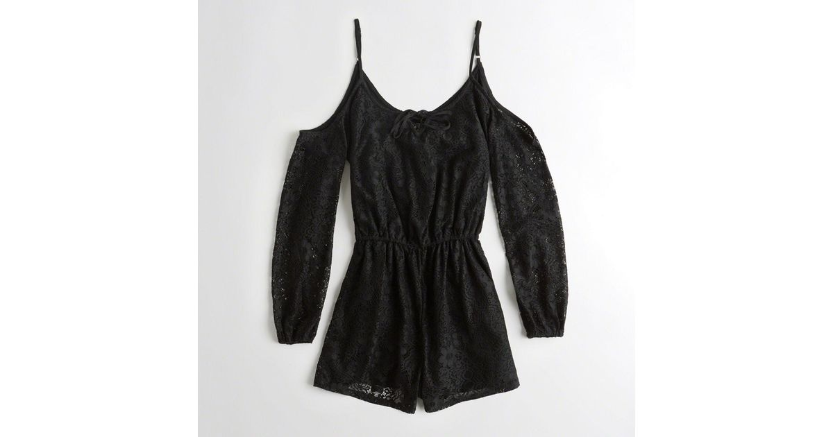 f11aae0a71fb Hollister - Black Girls Cold Shoulder Lace Romper From Hollister - Lyst