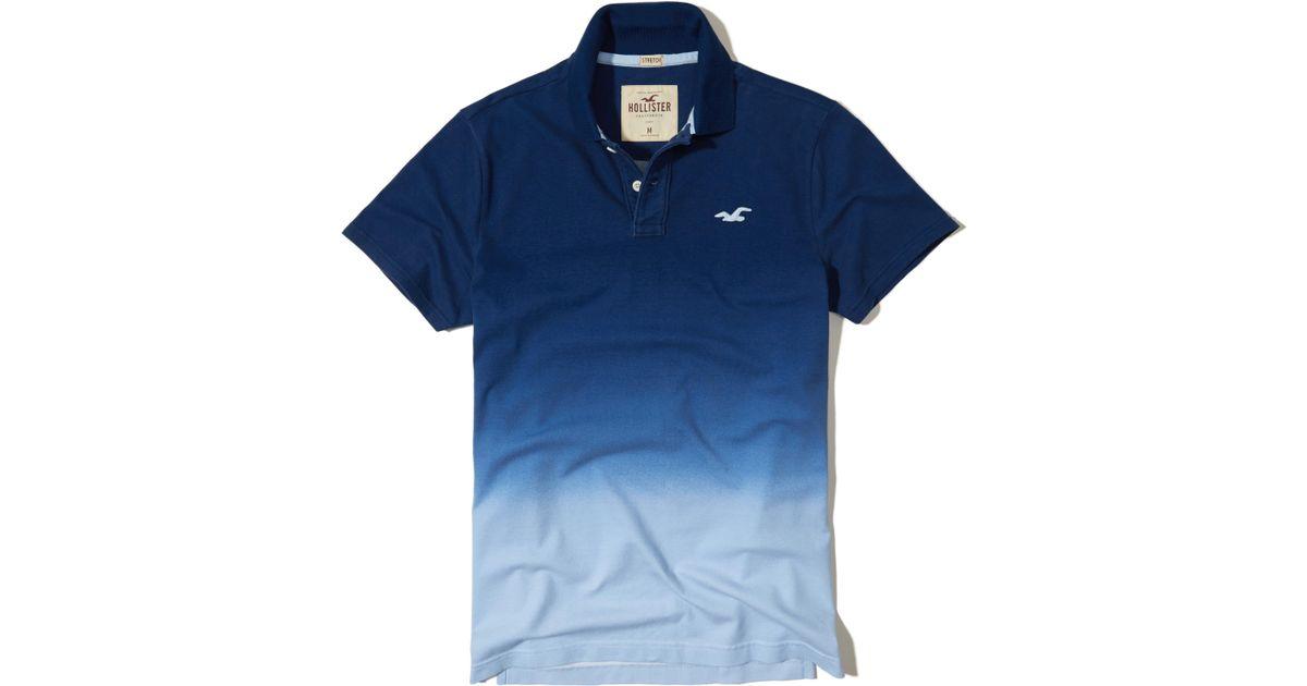 95d1fcd4e7 Lyst - Hollister Stretch Pique Ombré Polo in Blue for Men