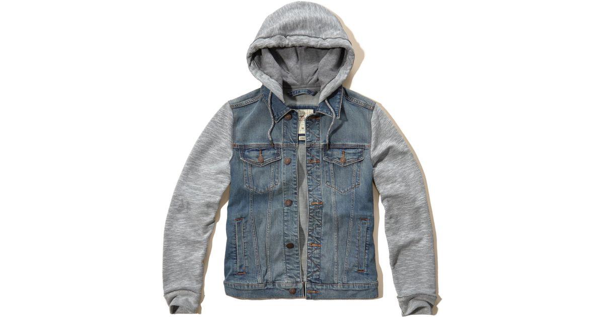 Hollister Sweaters Hollister Hoodies Hollister Shirts Hollister Jacket Hollister Pants Hollister Jeans: Hollister Hoodie Denim Jacket In Blue For Men