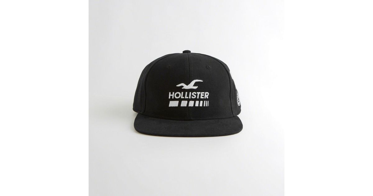 Lyst - Hollister Guys Embroidered Flat-brim Hat From Hollister in Black for  Men dd70fbc8593