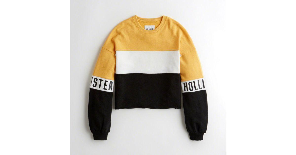 Lyst Hollister Girls Cutoff Logo Crewneck Sweatshirt From