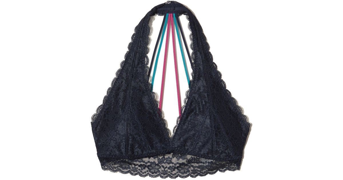 32c838eedcf Lyst - Hollister Strappy Halter Bralette With Removable Pads in Blue