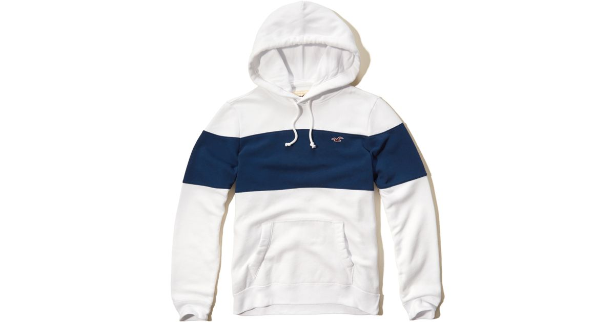 Hollister Iconic Colorblock Hoodie In White For Men