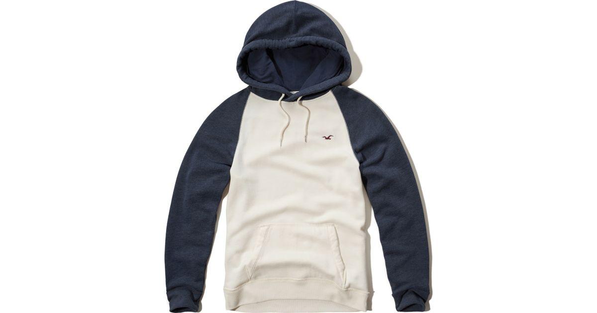 Hollister Colorblock Raglan Hoodie In White For Men