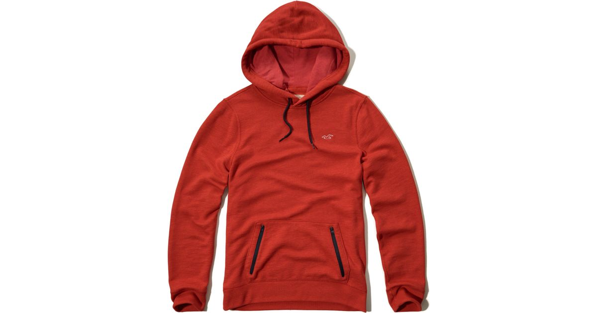 Hollister Sweaters Hollister Hoodies Hollister Shirts Hollister Jacket Hollister Pants Hollister Jeans: Hollister Textured Zip-pocket Hoodie In Red For Men
