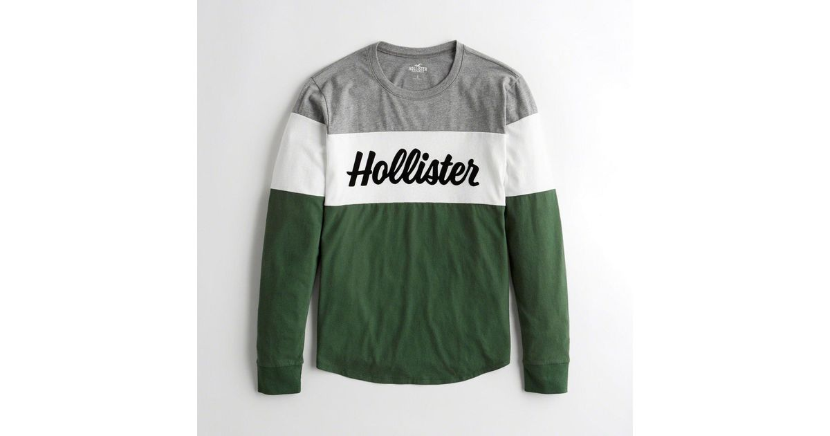 c5749ded Lyst - Hollister Girls Colorblock Logo Graphic Tee From Hollister in Green