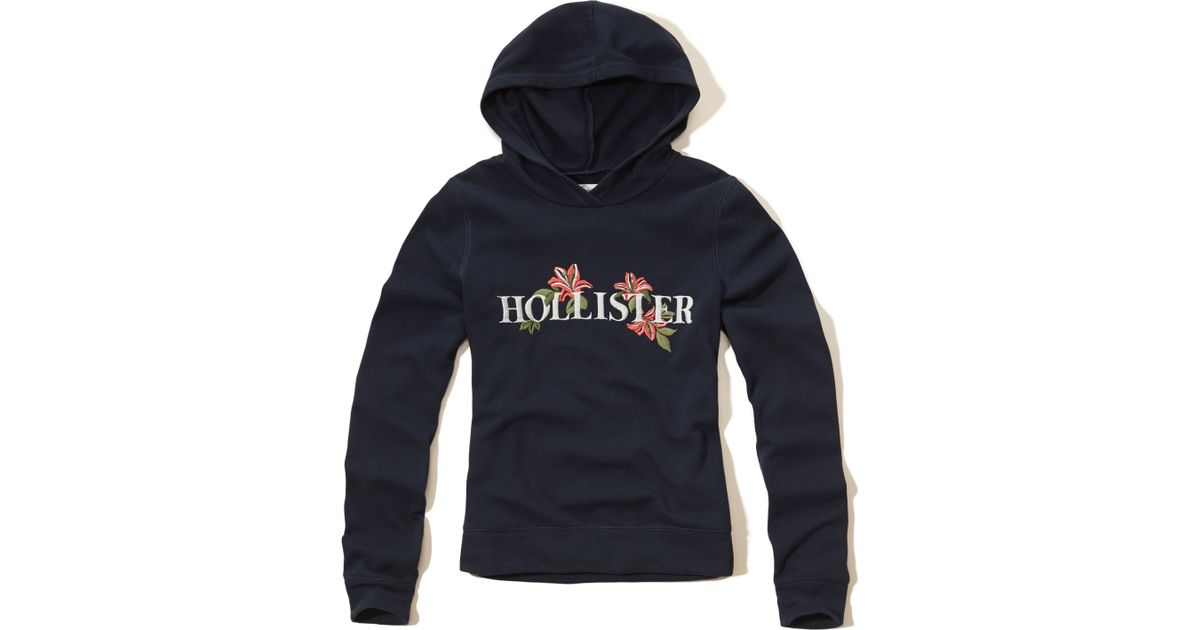 Hollister Logo Graphic Hoodie In Blue
