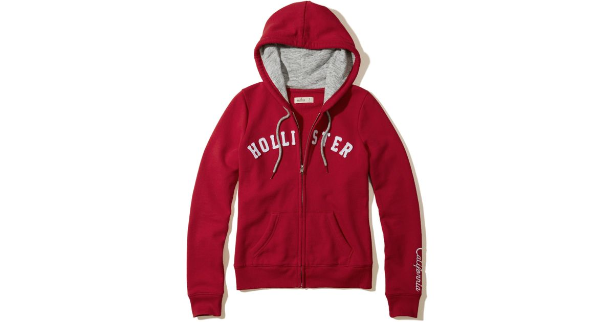 Hollister Sweaters Hollister Hoodies Hollister Shirts Hollister Jacket Hollister Pants Hollister Jeans: Hollister Logo Graphic Fleece Hoodie In Red