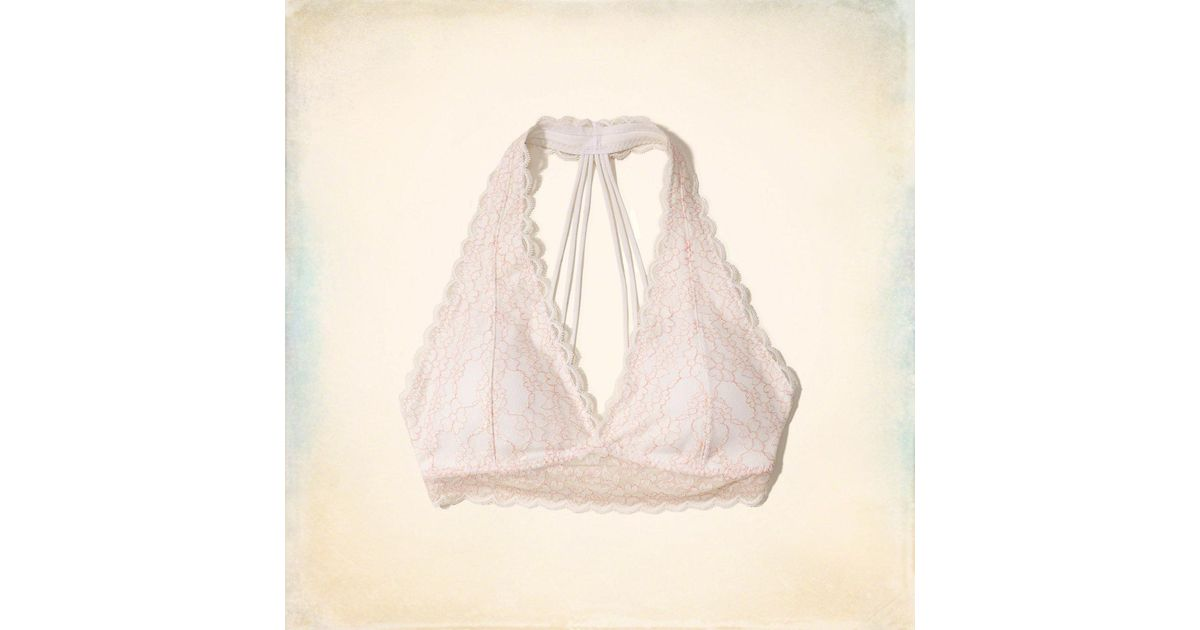 a12ab9a7be Lyst - Hollister Strappy Lace Halter Bralette With Removable Pads in Natural