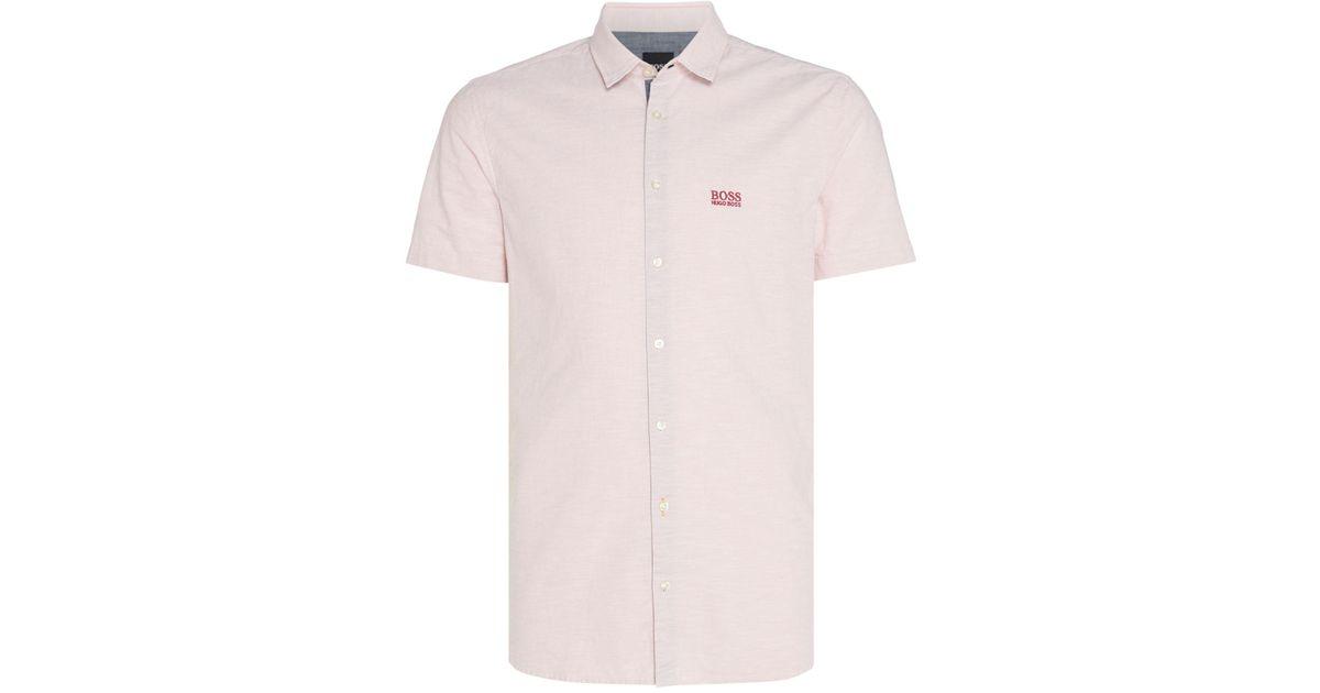 e7b6ced0 Boss Men's Cattitude Short Sleeve Logo Oxford Shirt in Pink for Men - Lyst