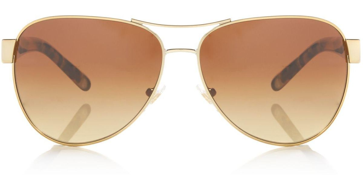 0a3afcd20a Lyst - Tory Burch Gold Ty6051 Pilot Sunglasses