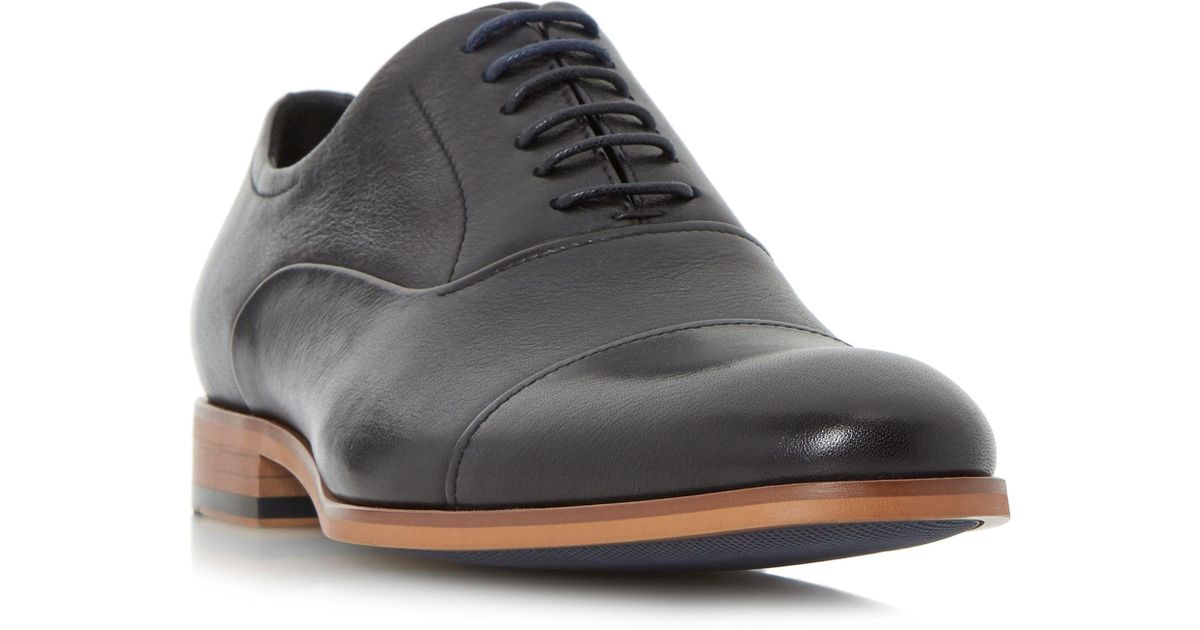 Black 'Padstow' soft leather toecap oxford shoes