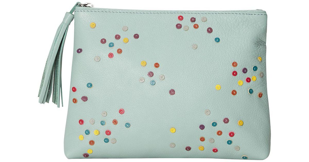 Lyst - White Stuff Spotty Leather Make Up Bag in Green f50a58ad17fae