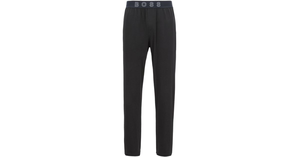 4479e8a20 Lyst - BOSS Pajama Pants In Stretch Cotton With Logo Waistband in Black for  Men