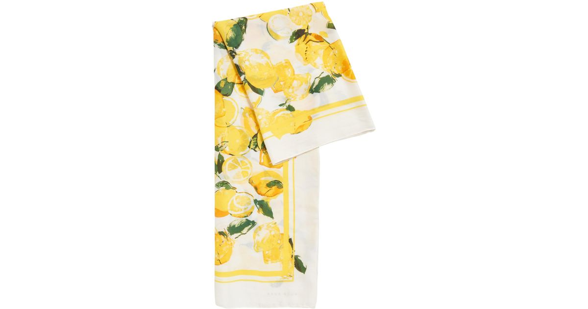 BOSS Silk-blend Scarf With Lemon Print in Yellow - Lyst 325da8a56a9