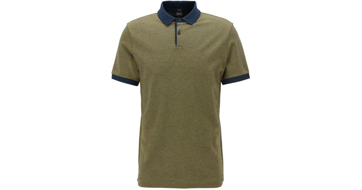b41ba7f42 BOSS Mercerized Cotton Polo Shirt, Slim Fit | Penrose in Yellow for Men -  Lyst