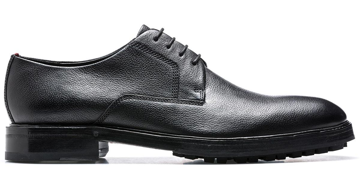 Tumbled-leather Derby shoes with lugged soles HUGO BOSS GiyvtG