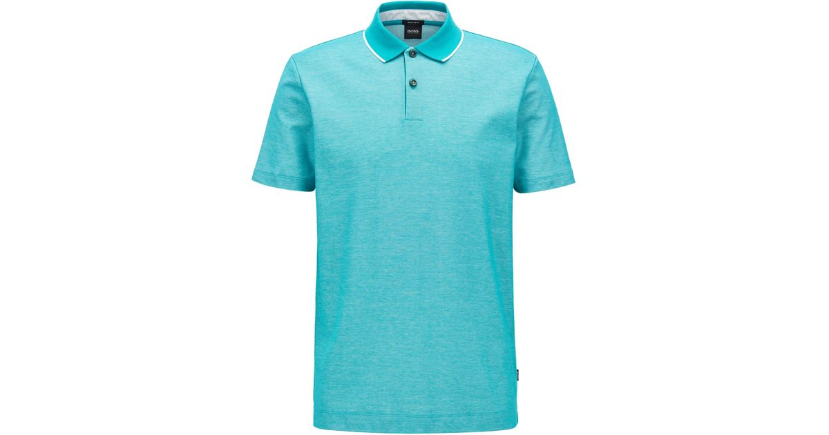 81e295c58 Lyst - BOSS Regular-fit Polo Shirt In Two-tone Honeycomb Cotton in Green  for Men