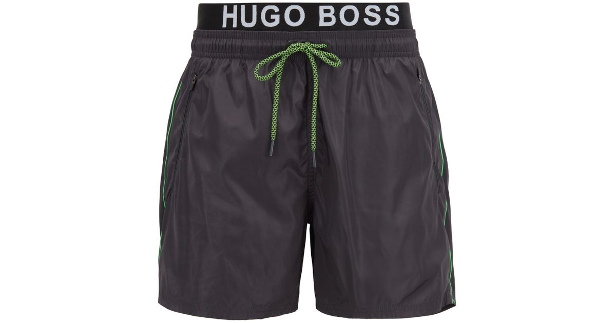 e878444df Lyst - BOSS Lightweight Swim Shorts With Double Waistband in Gray for Men