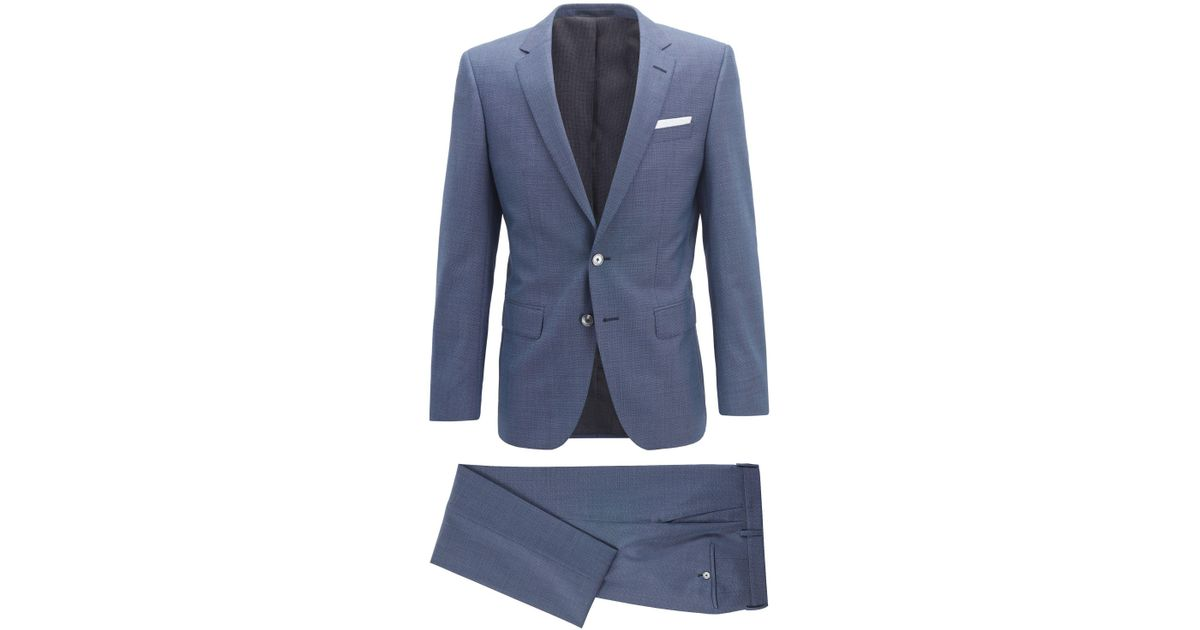 Lyst - Boss Slim-fit Suit In Micro-pattern Wool With Pocket Square in Blue  for Men 694ce142a69