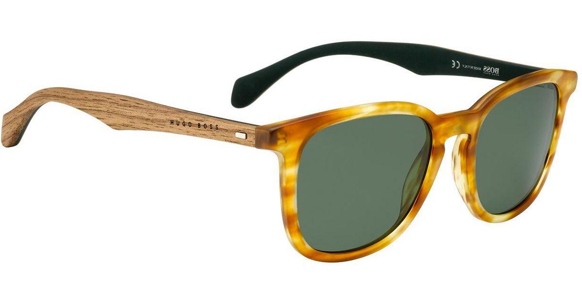 43103869e0 Lyst - BOSS Wood Acetate Round Sunglasses