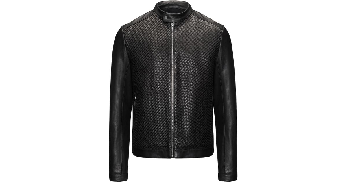 e30565f914 HUGO Woven Leather Jacket