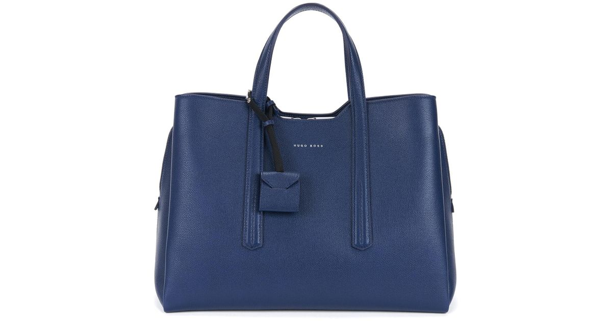 56655d5fc3e BOSS Full-grain Leather Tote | Taylor Tote in Blue - Lyst
