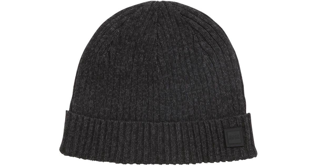 9934ebb32d5 BOSS Ribbed Beanie Hat In A Mouliné Cotton Blend in Black for Men - Lyst