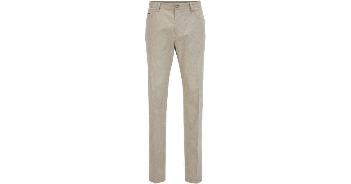 5140db3c Lyst - Boss Heathered Stretch Cotton Dress Pant, Slim Fit | Gaetano in  Natural for Men