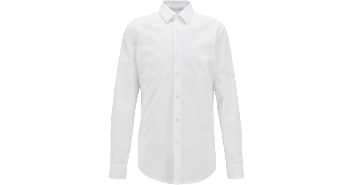 db8578a40 BOSS Slim-fit Shirt In Pure Cotton With Kent Collar in White for Men - Lyst
