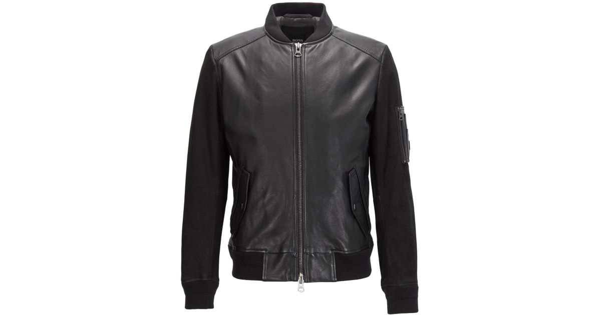 fcda8ff57 BOSS Black Ma-1 Bomber Jacket In Mixed Tonal Leather for men