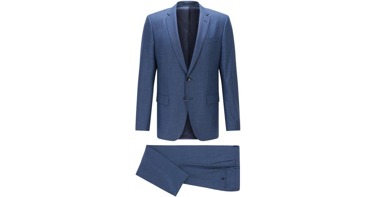 4bebbc272 BOSS Melange Italian Super 120 Virgin Wool Suit, Slim Fit   Huge/genius in  Blue for Men - Lyst