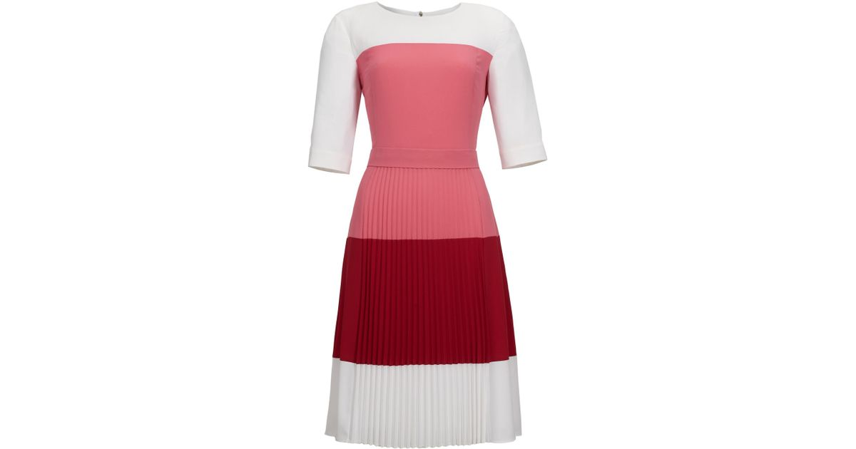 45edfb00f8 BOSS Colorblock Pleated Crepe Dress