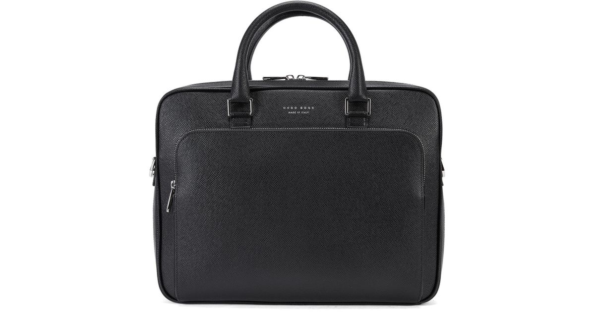 a0daa998e3 BOSS 'signature Slim Doc' | Palmellato Leather Bag in Black for Men - Lyst